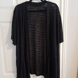 Black short sleeve, sheer open cardigan 4x plus